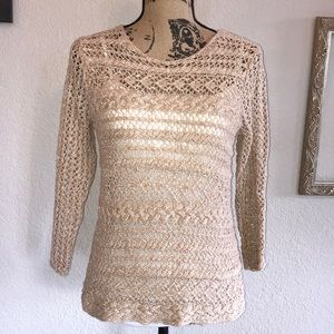 Lucky Brand Loose Knit Tan Sweater Size Small